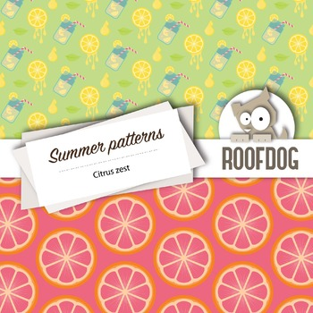 Bright citrus zest digital papers summer fruit patterns