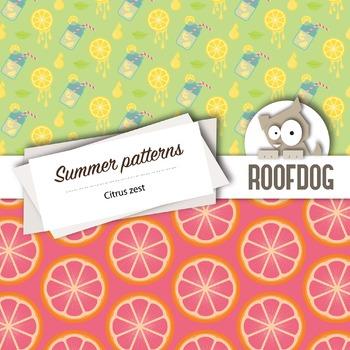 Bright citrus zest digital papers summer fruit patterns