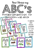 Bright colored alphabet chart/ABC wall decor