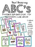 Bright colored alphabet chart/ABC wall decor