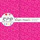 Bright flowers floral bright rainbow colours digital paper set/ backgrounds