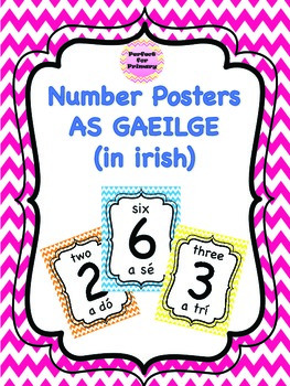 Bright number Posters with Gaeilge