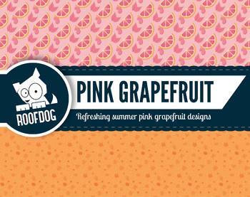 Bright pink grapefruit citrus zest digital papers summer fruit patterns