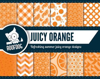 Bright orange citrus zest digital papers summer fruit patterns