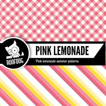 Bright pink lemonade stand digital papers summer fruit patterns