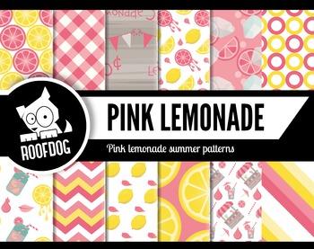 Bright pink lemonade stand digital papers summer fruit patterns