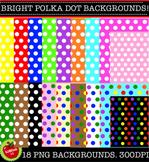 Bright polka dot & rainbow dot backgrounds