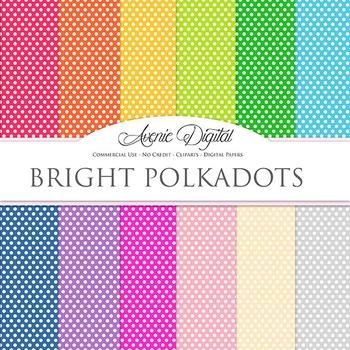 Bright polka dots Digital Paper patterns polkadot bright scrapbook background