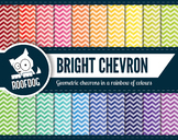 Bright rainbow chevron pattern digital paper