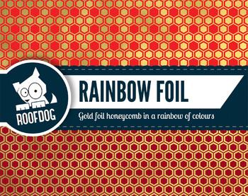 Bright rainbow gold foil honeycomb pattern digital paper