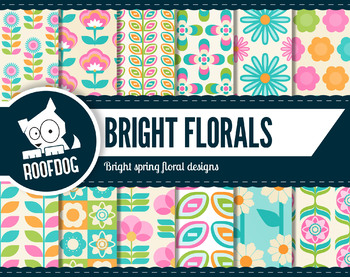 Bright spring floral digital paper