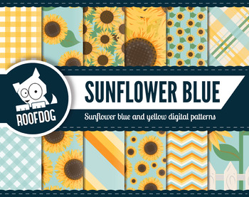 Bright sunflower digital papers assorted patterns