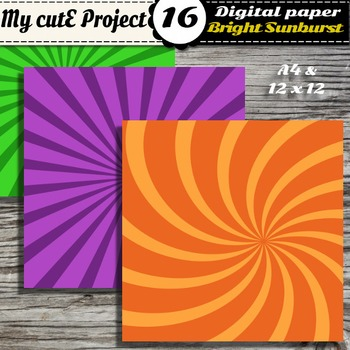 Bright tone on tone Sunburst digital paper - Swirl shapes scrapbooking paper
