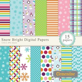 Bright winter digital papers, digital scrapbooking paper
