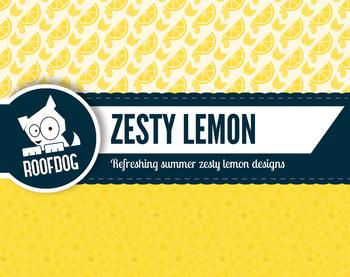 Bright yellow lemon citrus zest digital papers summer fruit patterns