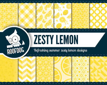 Bright yellow lemon citrus zest digital papers summer frui