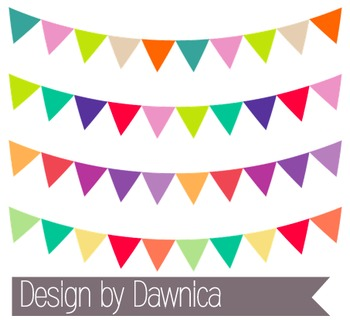 Brightly-Colored Banner Clipart - bunting, banners (Summer Package)