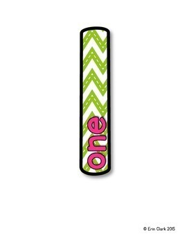 Brightly Colored Chevron Number/Number Word Posters 1-30