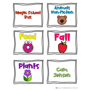 Brightly Colored Classroom Library Labels