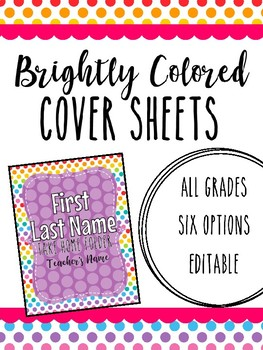 Brightly Colored Cover Sheet for Binders & Take Home Folders,