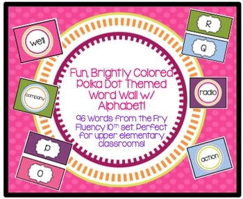 Brightly Colored Polka Dot Themed Upper Elementary Fry Fluency Word Wall