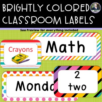 Brightly Colored/Rainbow Classroom Labels/Decor - days, months, supplies & more