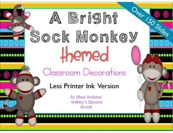 Brightly Colored Sock Monkey Theme Classroom Decor.  Print