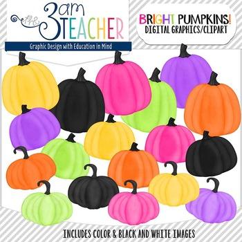 Brightly Painted Pumpkins Clip Art Set