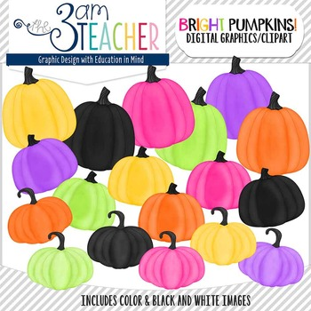 Brightly Painted Pumpkins Clip Art Set