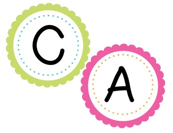 Brightly-colored CAFE bulletin board headers
