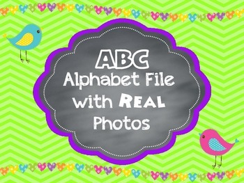Brights Alphabet ABC Letter Line Posters with REAL Photos Pictures