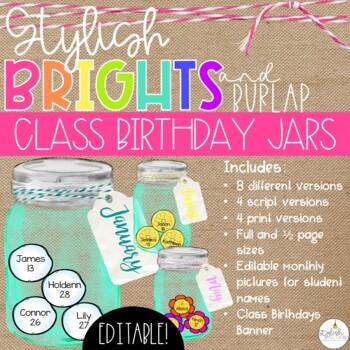 Brights & Burlap Class Birthday Mason Jars - EDITABLE