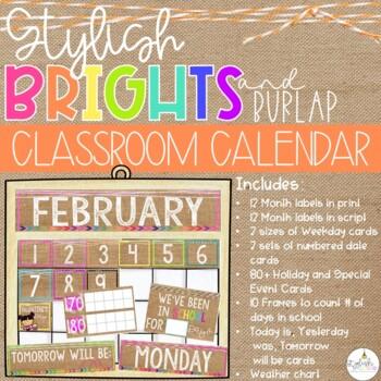 Brights & Burlap Classroom Calendar Set