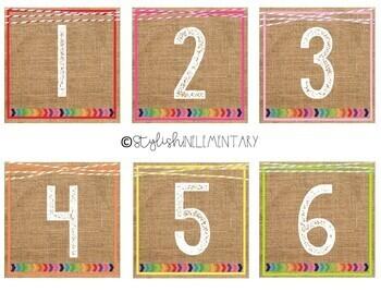 Brights & Burlap Classroom Library Labels - EDITABLE!