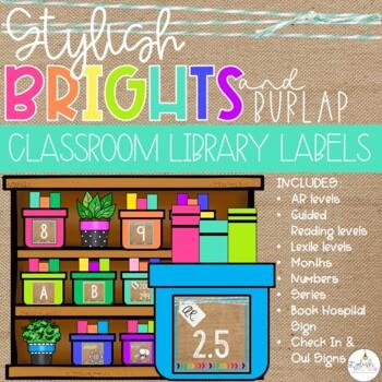 Brights & Burlap Classroom Library Labels
