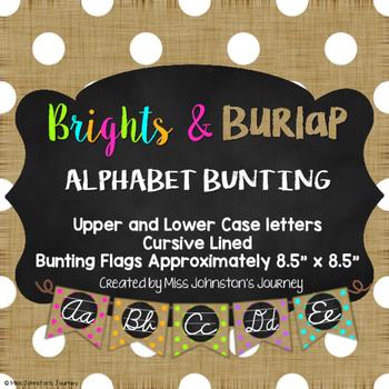 Brights & Burlap Cursive Alphabet Bunting