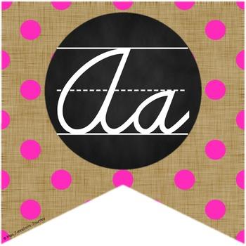 Brights & Burlap Cursive and Print Alphabet Buntings