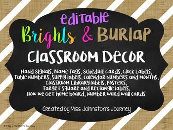 Brights & Burlap Editable Classroom Decor
