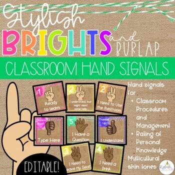 Brights & Burlap Hand Signals - EDITABLE!