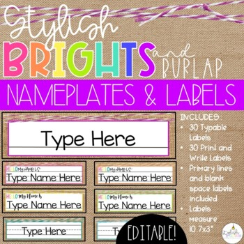 Brights & Burlap Name Plates and Labels - EDITABLE!