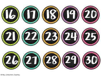 Brights & Burlap Number Labels 1-45 {1 inch} FREEBIE