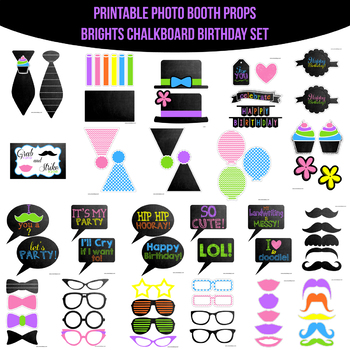image relating to Printable Photo Booth Props Birthday named Brights Chalkboard Birthday Printable Photograph Booth Prop Established