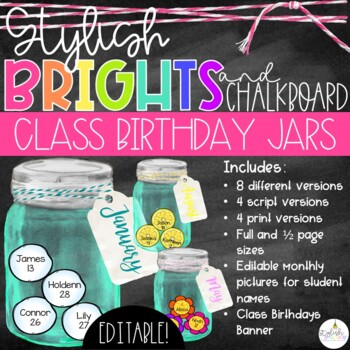 Brights & Chalkboard Class Birthday Mason Jars - EDITABLE