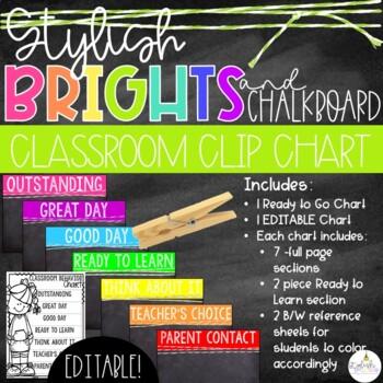 Brights & Chalkboard Behavior Clip Chart - EDITABLE