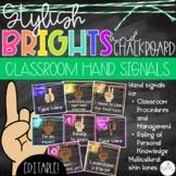 Brights & Chalkboard Hand Signals - EDITABLE!