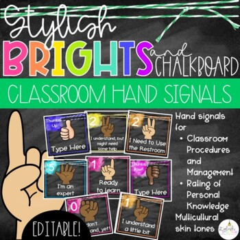 Brights & Chalkboard Hand Signals - EDITABLE!