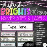 Brights & Chalkboard Name Plates and Labels - EDITABLE!