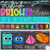 Brights & Chalkboard Shape Posters