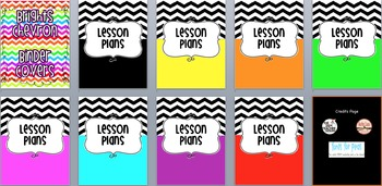 Brights Chevron Binder Covers (Editable)