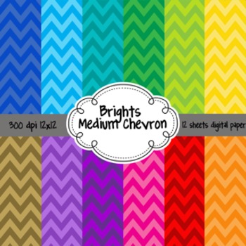 Brights Chevron and Stripes 24 12x12 Digital Scrapbook Bac